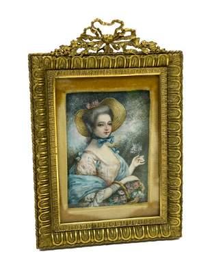 French Portrait of a Beauty, Heavy Gilt Bronze Frame
