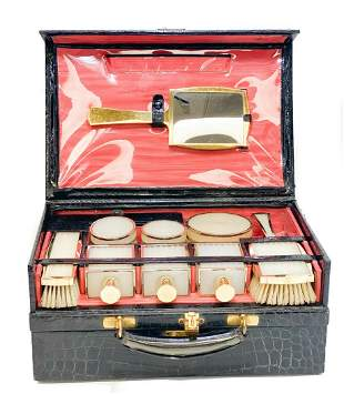 Asprey Gilt Sterling Silver Celluloid Travel Vanity Set
