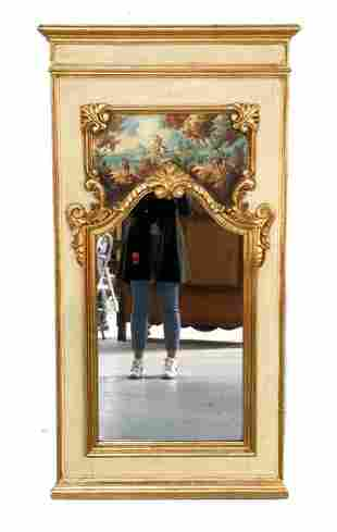 Large Continental Hand Painted Wall Mount Mirror