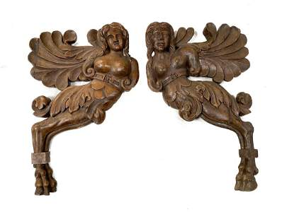 Continental Wooden Angelic Figures