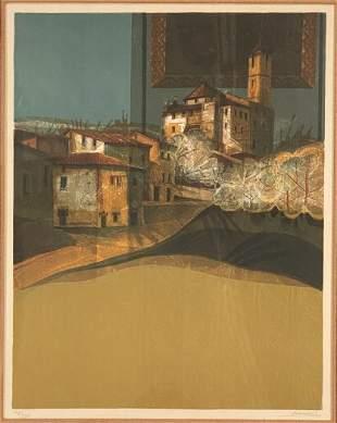"""""""La Village"""" by Alvar Color Lithograph Pencil Ltd Ed"""