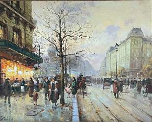 Impressionist Parisian Street Scene, Oil on Canvas