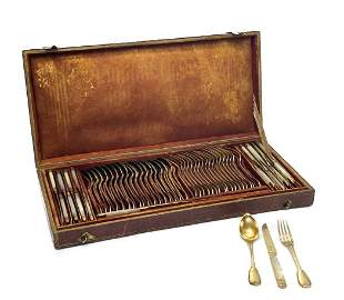 French Gilt Silver Dessert Flatware Set for 18, 19th C