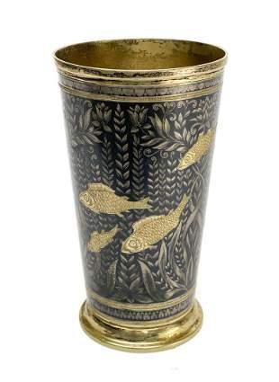 Russian 875 Gilt Silver Engraved Tumbler