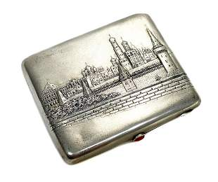 Russian 875 Silver Cigarette Case, Moscow Skyline