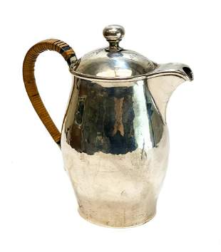 Porter Blanchard Sterling Rattan Handle Coffee Pot