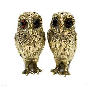 Tiffany Gilt Sterling Silver Owl Salt Pepper Shakers