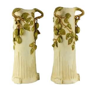 Royal Dux Art Nouveau Vases Fruited Branch Handles
