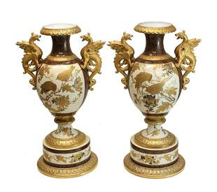 Pair Pirkenhammer Porcelain Aesthetic Dragon Vases
