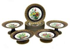 Copeland Porcelain Dessert Service for 12,