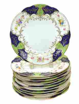 12 Coalport Porcelain Scalloped Dinner Plates