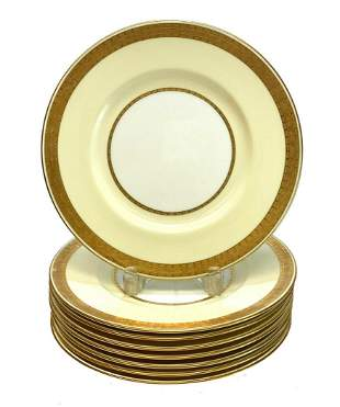 8 Minton Porcelain Gilt  Dinner Plates