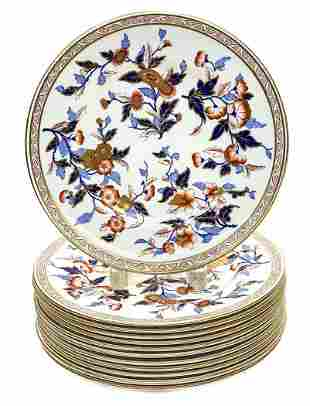 12 Royal Worcester Hand Painted Porcelain Dinner Plates