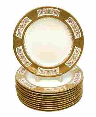 10 Royal Chelsea  Porcelain Dinner Plates, circa 1920
