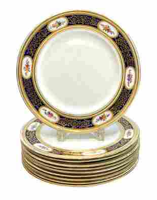10 George Jones Crescent Porcelain Dinner Plates, c1910