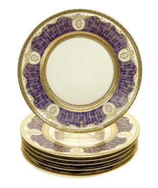 6 Black Knight Dinner Plates in Antoinette Purple