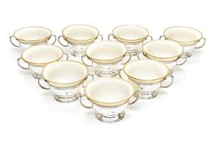 Tiffany Sterling Silver Porcelain Bouillon Bowls