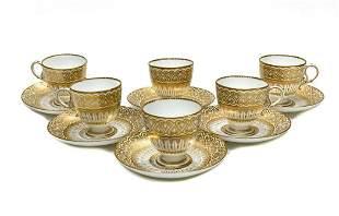 6 Coalport England Porcelain Cup and Saucers
