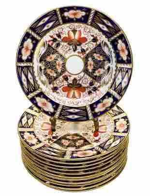 12 Royal Crown Derby Porcelain Bread Plates in