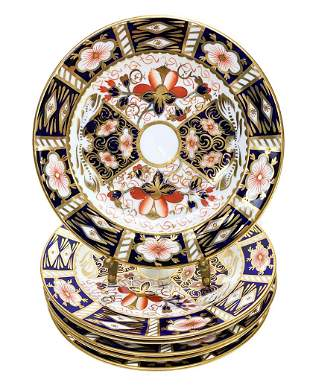 6 Royal Crown Derby Porcelain Bread Plates in
