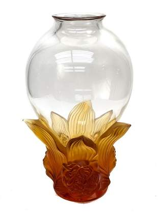 Lalique Crystal Clear & Amber Peonies Vase, Ltd of 99