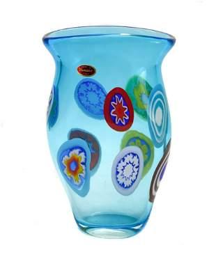 Murano Millefiori Blue Art Glass Vase by Formentello
