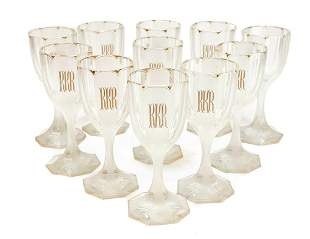 11 French Frosted Clear Glass Claret Wine Goblets