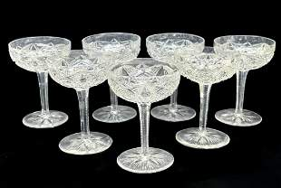 7 Baccarat France Cut Glass Champagne Sherbets in Lagny