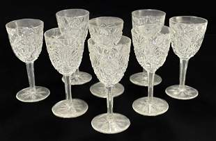 8 Baccarat France Cut Glass Sherry Wine Goblets in