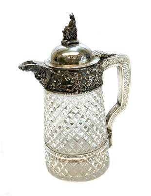 Continental Silver and Cut Glass Chinosiorie Pitcher