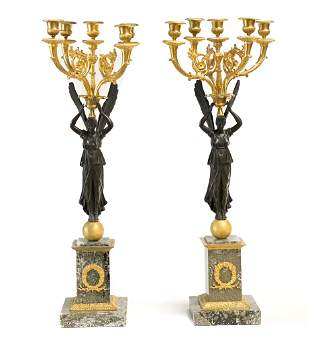 Pair French Bronze Candelabras, Winged Beauties