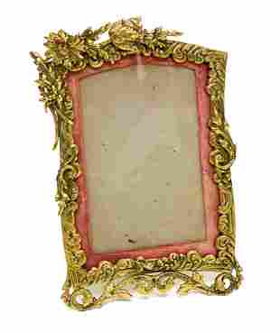 French Gilt Bronze and Red Fabric Matted Frame