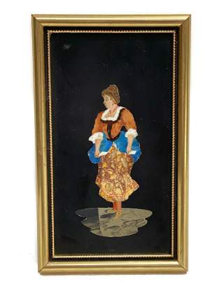 Vintage Italian Pietra Dura Stone Plaque of a Beauty