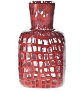 Venini Occhi Square Vase in Red by Tobia Scarpa
