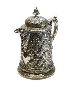 Solid Silver Ornate Tankard Diamond Repousse, 19th C