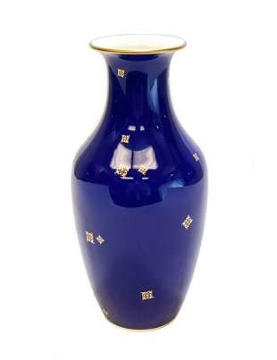 Manufacture Sevres Porcelain Vase, Blue and Gilt 1924