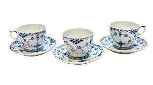 3 Royal Copenhagen Porcelain Cup & Saucers Half Lace