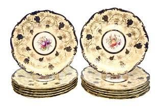12 Coalport Dinner Cabinet Plates, circa 1900