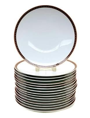 16 Bernardaud Mfg de Porcelaine Chargers, Dotted Rim
