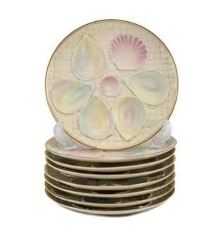 8 Blush Porcelain Oyster Plates by Royal Worcester 1887