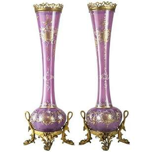 Continental Enamel Gilt Glass Vases,  19th C