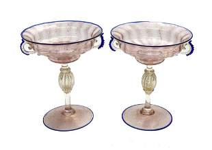 Pair Venetian Pink Art Glass Twin Handled Compotes,