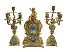3 Piece Bronze & Champleve Enamel Clock Garniture