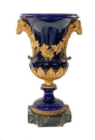 French Cobalt Porcelain Vase, Gilt Ram Heads