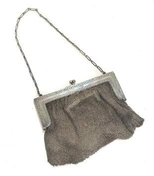 Sterling Silver Chainmail Mesh Purse Handbag