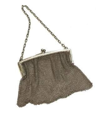 Vintage Sterling Silver Chainmail Mesh Purse Handbag