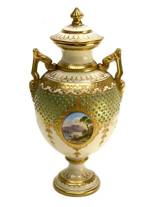 Coalport England Porcelain Twin Handled Urn.