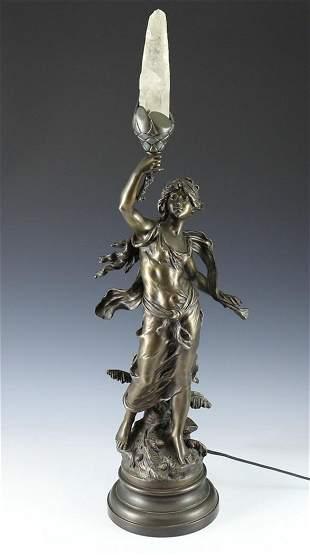 L & F Moreau Bronze Figural Lamp Rock Crystal Flame