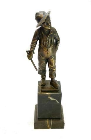German Bronze & Stone Base Sculpture of a Boy, c1900