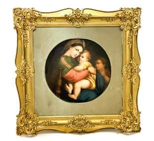 KPM Porcelain Round Plaque - Madonna & Child, 19th C